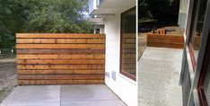 This is an awesome link from The Brick House where he did a lot of planning and compare/contrast of different modern fence designs Metal Fence Posts, Front Fence, Hide Trash Cans, Trash Bins, Privacy Fences, Yard Privacy, Yard Fencing, Redwood Fence, Fresco