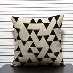 Sale Triangles black geometric cushion cover by KittyandPearl, $30.00
