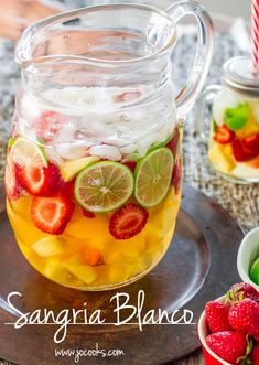 white wine sangria with vanilla and lime. Sounds delicious!