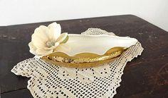 Weeping Bright Gold Leaf Tray, Vintage Handpainted 22 Kt Gold Porcelain Vase or Flat Planter, Hollywood Regency Decor, Table Centerpiece