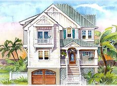 Rambling Coastal Dream Home - 13016FL | 1st Floor Master Suite, Beach, CAD Available, Drive Under Garage, Florida, Media-Game-Home Theater, Narrow Lot, PDF, Shingle, Vacation | Architectural Designs