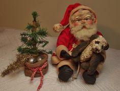 Handmade Tiny Grubby Sitting Santa Claus ~ Painted Fabric Panda Bear & Primitive skinny tree by Kim Sweet~Kim's Klaus