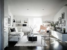 Furniture Living Room : Gravity Home: Scandinavian Attic Apartment Tiny Living, Home And Living, Living Spaces, Design Apartment, Attic Apartment, Scandinavian Interior Design, Scandinavian Living, Gravity Home, Home And Deco
