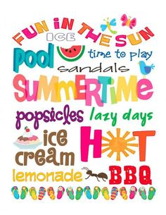 Kostenlos druckbare Freitag: Sommer-U-Bahn-Kunst, Free Summer, Summer Of Love, Summer Time, Happy Summer, Summer Things, Hello Summer, Summer Ideas, Summer Fun Images, Happy June