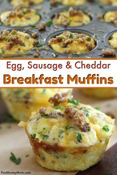 Breakfast Muffins - These egg, sausage and cheddar bites are the perfect breakfast recipe and fun for a brunch too. After all, who doesn't love bite size foods...you can't go wrong with these mini egg muffins! #eggs #eggrecipe #breakfast #breakfastrecipe #brunch #minifood #bitesizefood