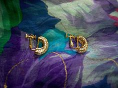 Vintage Napier Rhinestone Gold Tone Crescent Earrings Clip On by BlackRain4 on Etsy
