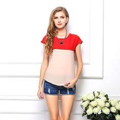 Women's Chiffon Patchwork Style T-Shirt