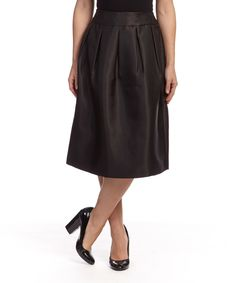 2e1f941c231 Look what I found on  zulily! Black Sheen Box Pleated Skirt - Women by