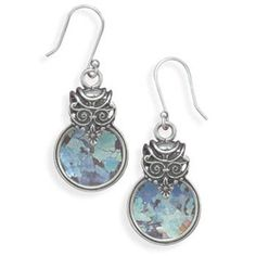 Ancient Roman Glass Circular Earrings  Hanging Length 41mm.  Ancient glass measures 17mm in diameter.  Color will vary.  Comes with Certificate of Authenticity.    $146.28