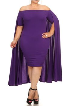 bf1dbb97e3c This sexy off shoulder short sleeve midi bodycon dress with flowing style  cape is perfect for