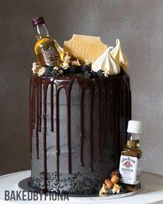 "Sydney Cakes, Baked by Fiona Concrete Cake, 6"" tower birthday cake. #birthdaycake #blackcake"