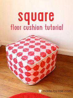 square floor cushion tutorial by madebyrae, via Flickr