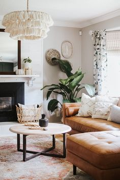 Modern Bohemian Farmhouse Living Room [ Before After ] ;Modern Bohemian Farmhouse Living Room [ Before After ] ; Jessica Sara Morris Modern Bohemian Farmhouse Living Room [ Be# Bohemian Boho Living Room, Home And Living, Earthy Living Room, Plants In Living Room, Living Room Corner Decor, Cozy Living Rooms, Cute Living Room, Living Room Lighting, Decorating Living Rooms
