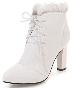 0b98d2666d2c IDIFU Womens Trendy Zipper High Chunky Heel Pointed Toe Ankle Booties White  9 BM US -