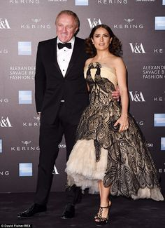 Salam Hayek in amazing Alexander McQueen peacock dress.