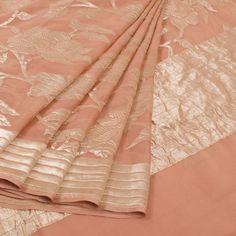 Handwoven Peach Banarasi Katrua Georgette Saree With Jaal Design 10014390 - AVISHYA.COM