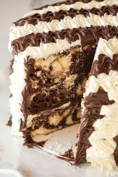 This Black and White Stripe Marble cake is a breeze to do and a total show stopper! This is a sponsored conversation written by me on behalf of Pillsbury™. Cake Cookies, Cupcake Cakes, Cupcakes, Marble Cake Recipes, Gourmet Cakes, Cake Recipes From Scratch, Drip Cakes, Homemade Cakes, Cakes And More