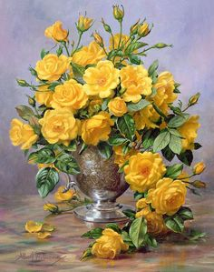 Roses In A Silver Vase - Painting by Albert Williams: