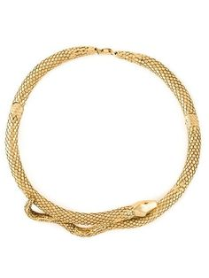 gold plated 'Tao' snake necklace from Aurelie Bidermann featuring an entwined snake design. The necklace measures in circumference with a hinged closure. Snake Necklace, Snake Jewelry, Necklace Box, Collar Necklace, Metal Jewelry, Jewelry Necklaces, Jewlery, Jewelry Box, Gold Plated Bracelets