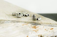 Tube Beads 6x8mm, Antique Silver Spacer beads,  Bali Style Barrel Beads, Patterned Tube Beads, Hole 2.2mm, Jewelry Supplies, 5 pieces