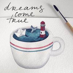 New Travel Drawing Ideas Artists Ideas Watercolor Sea, Watercolor Cards, Watercolor Paintings, Sea Illustration, Illustration Artists, Travel Drawing, Cute Drawings, Amazing Art, Cool Art