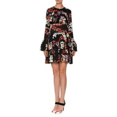 Msgm Long-Sleeve Tiered Floral Silk Mini Dress (29,750 THB) ❤ liked on Polyvore featuring dresses, black pattern, short dresses, floral dresses, long-sleeve shift dresses, long dresses and long-sleeve mini dress