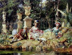 Detti, Cesare Augusto (b,1847)- Elegantly Fishing