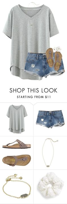 """""""love a little more laugh a little harder"""" by elizabethannee ❤ liked on Polyvore featuring RVCA, Birkenstock, Kendra Scott and Topshop"""