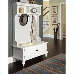 Home Styles Bermuda Hall Tree Stand in Brushed White Finish