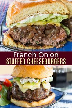 French Onion Stuffed Burgers - juicy hamburgers stuffed with caramelized onions and topped with melted cheese will be the most incredible recipe to come from your grill this summer! Need a gluten free or low carb option? Serve them as lettuce wraps or just eat with a fork and knife! Grilling Recipes, Beef Recipes, Vegetarian Recipes, Cooking Recipes, Healthy Recipes, Hamburger Recipes, Vegetarian Cooking, Healthy Meals, Cooking Tips