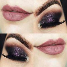 Combinação perfeita de roxo e preto para valorizar o olhar. O batom malva harmoniza perfeitamente o olho mais escuro. <3