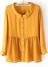 Yellow Long Sleeve Hollow Buttons Loose Blouse $30.48