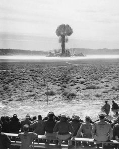 People watching an atomic test at Nevada Test Site, c. 1950