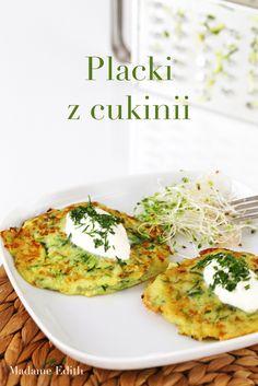 placki z cukinii Polish Food, Polish Recipes, Vegetarian Food, Delicious Food, Quiche, Health Fitness, Gluten Free, Eat, Dining