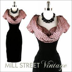 Vintage black and pink wiggle dress