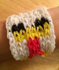 Rainbow Loom -  Minecraft CHICKEN Bracelet - made with Genuine Rainbow Loom Bands on Etsy, $8.00