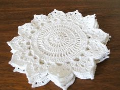 Items similar to White Crochet Coasters Handmade Set of 4 Doilies Housewarming Christmas Gift on Etsy Crochet Coaster Pattern, Crochet Doily Patterns, Crochet Mandala, Crochet Motif, Crochet Doilies, Crochet Flowers, Hand Crochet, Free Crochet, Crochet World