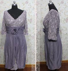 Formal vneck 3/4 sleeve lace and chiffon by Loveannaweddingdress, $219.00