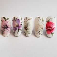Bild könnte enthalten: Blume Spring Nails, Summer Nails, Cute Nails, Pretty Nails, Nail Art Courses, Water Color Nails, One Stroke Nails, Art Aquarelle, Nailart