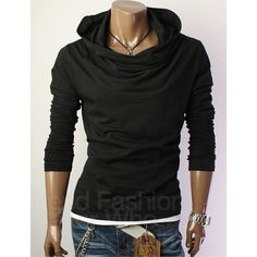 Black Cowl Neck Hoodie Shirt