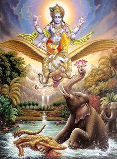 Vishnu with Garuda (Reprint on Paper - Unframed)
