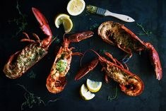 BBQ grilled lobsters with homemade lemon and fine herbs butter Grilled Lobster, Herb Butter, Bbq Grill, My Recipes, Shrimp, Herbs, Homemade, Meat, Lobsters