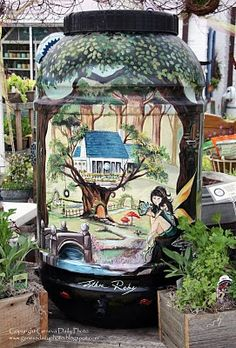 Rain Barrel painted by Esther Roby