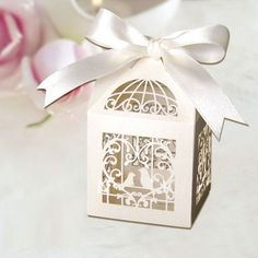 Laser-cut Love Birds Wedding Favour Boxes/ Mini Cupcake Boxes, Bomboniere boxes, Favor Boxes