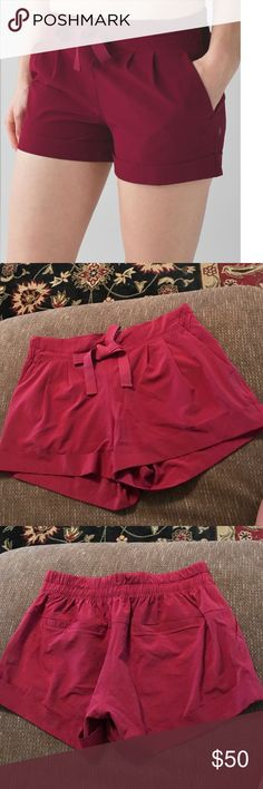 Lululemon Spring Break Away II Sz 6 EUC, worn only few times, great for casual wear and super cute, Rosewood color is very pretty deep red lululemon athletica Shorts