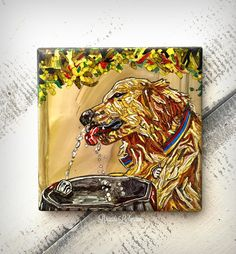 Golden Retriever Dog Art Alcohol Ink Tile by ReImaginationsKids