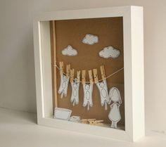 Washing cats   Original paper diorama  Shadow box by Caracarmina,