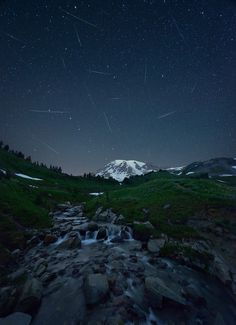 "vurtual: "" Meteor shower (by Protik Hossain) Perseid meteor shower captured @ Mount Rainier. Scenery Photography, Night Photography, Pretty Pictures, Cool Photos, Interesting Photos, Amazing Photos, Perseid Meteor Shower, Mount Rainier National Park, Urban Landscape"
