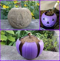 Fill a plastic pumpkin with Quickcrete, for cute & lasting yard/porch Halloween decoration. Grab a few plastic pumpkins and get to work on one of these cute Halloween decorating ideas! Halloween Ornaments, Holidays Halloween, Halloween Pumpkins, Fall Halloween, Halloween Crafts, Happy Halloween, Halloween Stuff, Halloween Yard Ideas, Primitive Halloween Decor