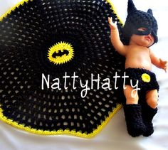 ON SALE BATMAN Baby handmade crochet Set Hat by NattyHatty on Etsy, $59.99